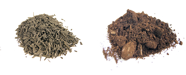 (left): Biochars from pyrolysis; (right): Biochars from hydrothermal carbonization process