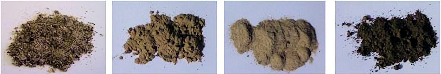 Soil particle size fractions, from left to right: sand, coarse silt, fine silt, clay